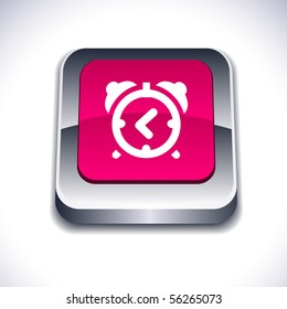 alarm-clock metallic 3d vibrant square icon.