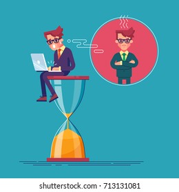 An alarmed worker is sitting on an hourglass with laptop and rushing to finish his project. Deadline.Time is running out. Business concept of time management and procrastination. Vector illustration.