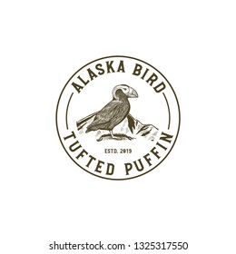 Alaska Bird, Tufted Puffin Mascot Illustrations, for National Park or Nature Lover