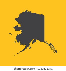 Alaska black map,border on orange background. Vector illustration.