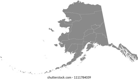Alaska county map vector outline gray background. County map of Alaska state of United States of America with counties borders