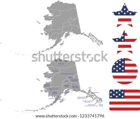 Alaska County Map Vector Outline Gray Stock Vector (Royalty Free ...