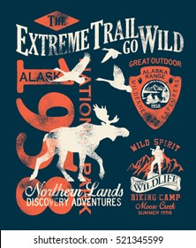 Alaska extreme trail, vector grunge artwork for boy t shirt