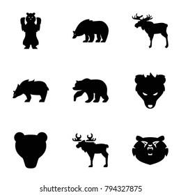 Alaska icons. set of 9 editable filled alaska icons such as moose