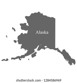 Alaska map, gray with white country name letters on the map.