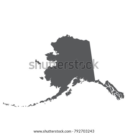 Alaska Map Silhouette Outline State Stock Vector Royalty Free