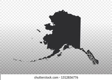 Alaska Map - USA, United States of America map, World Map International vector template isolated on transparent background - Vector illustration eps 10