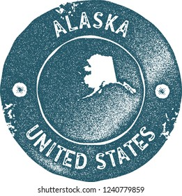 Alaska map vintage stamp. Retro style handmade label, badge or element for travel souvenirs. Blue rubber stamp with us state map silhouette. Vector illustration.