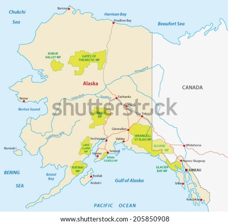 Alaska National Park Map Stock Vector (Royalty Free) 205850908 ...