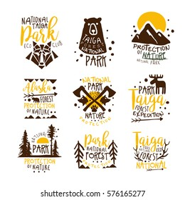Alaska National Park Promo Signs Series Of Colorful Vector Design Templates With Wilderness Elements Silhouettess. Natural Protected Forest Park Labels In Flat Bright Illustrations With Text.