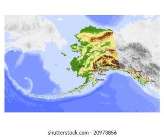 Alaska Physical Map Images, Stock Photos & Vectors | Shutterstock