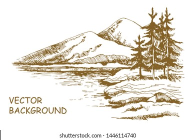Alaska skyline sketch. Illustration of mountains scenery and lake with alaska pine trees, hand drawn isolated on white background.