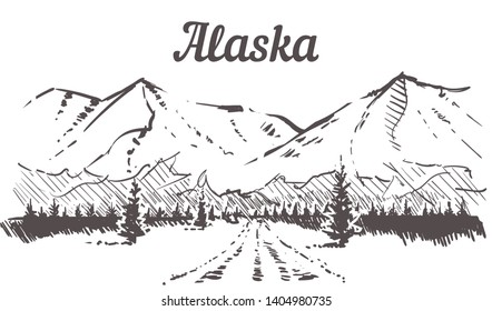Alaska skyline sketch, Alaska road to snowy mountains hand drawn illustration isolated on white background.