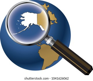 Alaska State Map Enlarged on Globe with Magnifying Glass