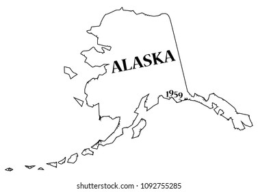 An Alaska state outline with the date of statehood isolated on a white background