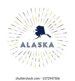 Alaska sunburst badge. The us state sign with map of Alaska with state flag. Colorful rays around the logo. Vector illustration.