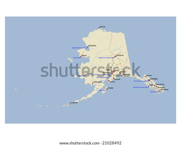 Alaska Transportation Vector Map Rivers Selected Stock ...