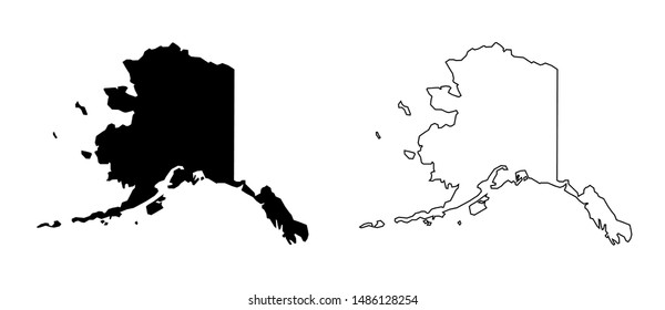 Alaska US Blank Map Vector Template Black Solid Color and Outline Isolated on White Background