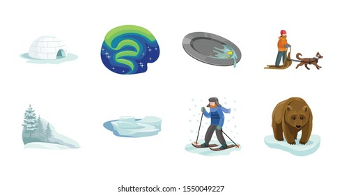 Alaska vector cartoon set.Vector illustration of north eskimo and ice arctic inuit igloo .North alaska with ice igloo.Eskimo and inuit cartoon icon.
