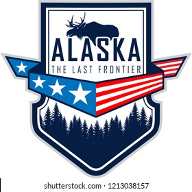 Alaska vector label with flag, woodland forest and moose