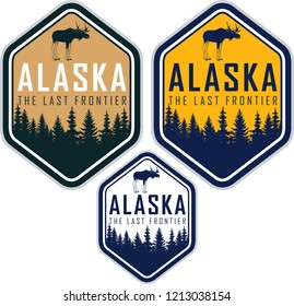 Alaska vector labels with woodland forest and moose