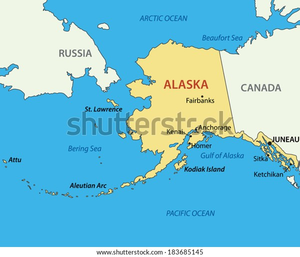 Alaska Vector Map Stock Vector Royalty Free 183685145