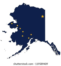 Alaska vector map with the flag inside.