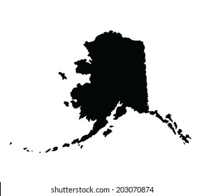 Alaska vector map silhouette isolated on white background silhouette. High detailed illustration.  United state of America country.
