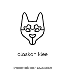 Alaskan Klee Kai dog icon. Trendy modern flat linear vector Alaskan Klee Kai dog icon on white background from thin line dogs collection, editable outline stroke vector illustration