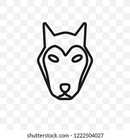 Alaskan Klee Kai dog vector linear icon isolated on transparent background, Alaskan Klee Kai dog transparency concept can be used for web and mobile