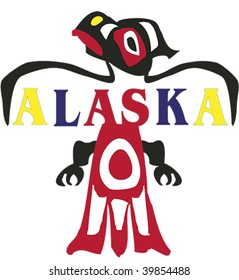 Alaskan raven with state name in text rendered in Northwest Coast Native style.
