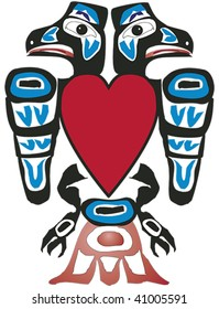 Alaskan ravens with heart rendered in Northwest Coast Native style.