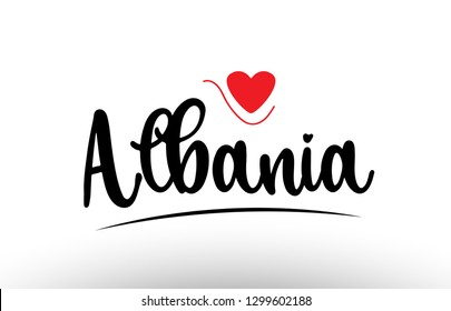 Albania country text with red love heart suitable for a logo icon or typography design