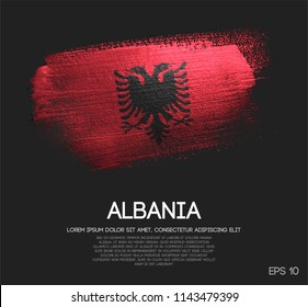 Albania Flag Made of Glitter Sparkle Brush Paint Vector