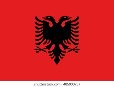 Albania flag in official colors and Proportion Correctly