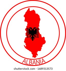 Albania flag on map of country; isolated on white background. Vector logo sticker button