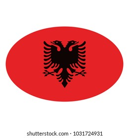 Albania flag Vector Icon - Illustration, Vector illustration of flag of Albania, Albania flag on a gray background. Vector illustration.