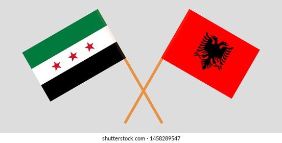 Albania and Interim Government of Syria. Crossed Albanian and Coalition flags