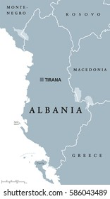 Albania political map with capital Tirana, national borders and neighbor countries. Republic and sovereign state in Southeastern Europe on Balkan peninsula. Gray illustration, English labeling. Vector
