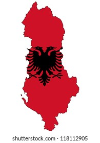 Albania vector map with the flag inside.