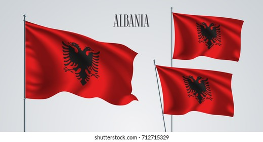 Albania waving flag set of vector illustration. Red with eagle of Albanian wavy realistic flag as a patriotic symbol
