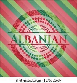 Albanian christmas colors style emblem.