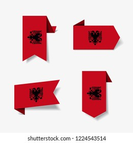 Albanian flag stickers and labels set. Vector illustration.