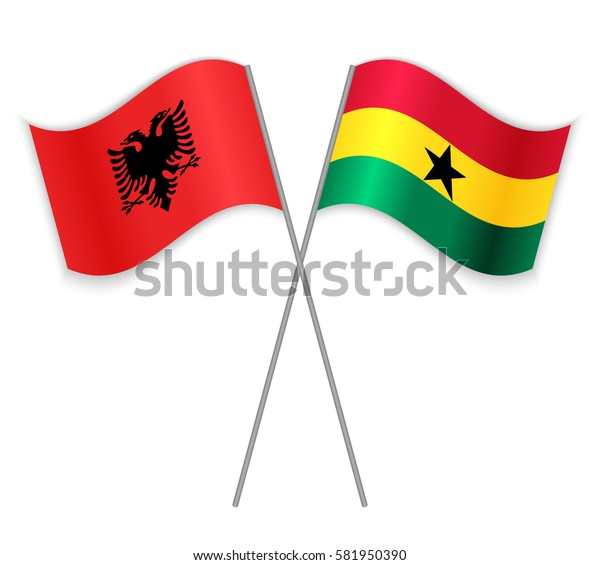 Albanian and Ghanaian crossed flags. Albania combined with Ghana isolated on white. Language learning, international business or travel concept.