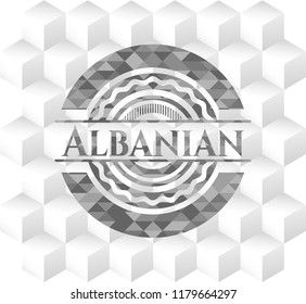 Albanian grey badge with geometric cube white background