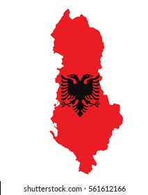 Albanian Map with Flag Vector