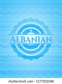 Albanian water wavec oncept emblem.