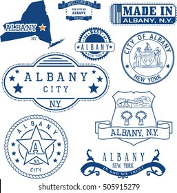 Albany city, New York. Set of generic stamps and signs including Albany city seal elements and location of the city on New York state map.