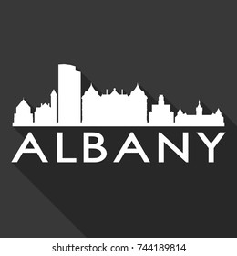 Albany Flat Icon Skyline Silhouette Design City Vector Art Famous Buildings