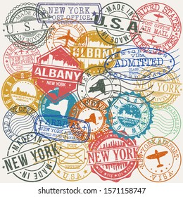 Albany New York Set of Stamps. Travel Stamp. Made In Product. Design Seals Old Style Insignia.